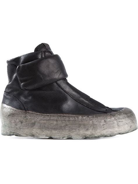 oxs sneakers oxs rubber soul polacco leather high top sneakers in black