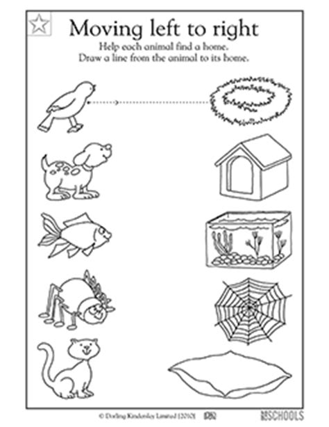 printable animal homes kindergarten preschool reading writing worksheets