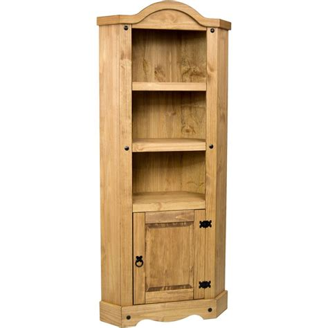 Wood Corner Bookcase Corona 1 Door Corner Bookcase Display Unit Mexican Solid Pine Wood Waxed Rustic