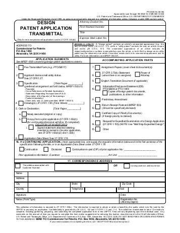 design application transmittal form request for supplemental examination transmittal form