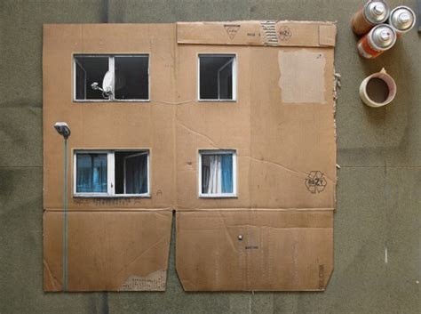 spray paint on cardboard cityscapes made with cardboard and spray paint