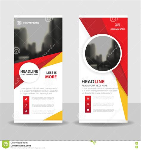 design background x banner red yellow circle roll up business brochure flyer banner