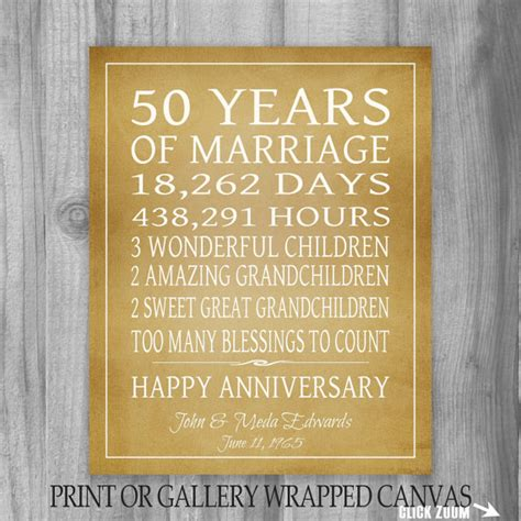 50th wedding anniversary gift ideas golden anniversary gift grandparents 50th anniversary gift 50 years personalized print or canvas