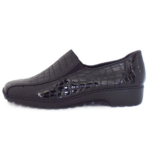 comfortable women shoes rieker wonderer l6070 comfortable mock croc leather
