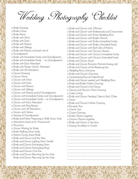 Wedding Photo Shot List Template The Intentional Mom Wedding Photography Checklist