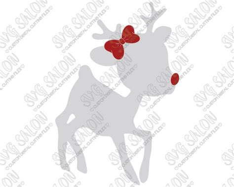 rudolphs girlfriend clarice girl reindeer  bow cut file  svg eps dxf jpeg  png