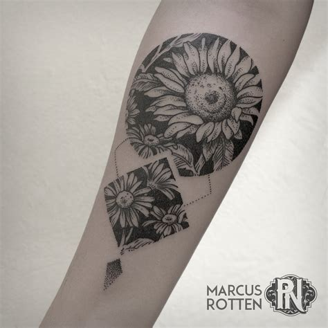 geometric flower tattoo geometric flower sunflower botanical blackwork