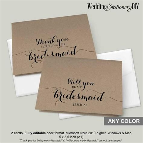 bridesmaid thank you card template rustic modern bridesmaid cards 2418300 weddbook