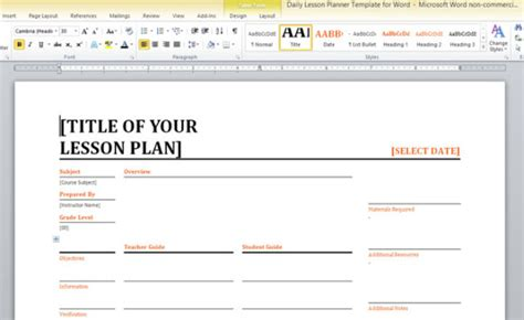 Daily Lesson Planner Template For Word Free Lesson Plan Template Word