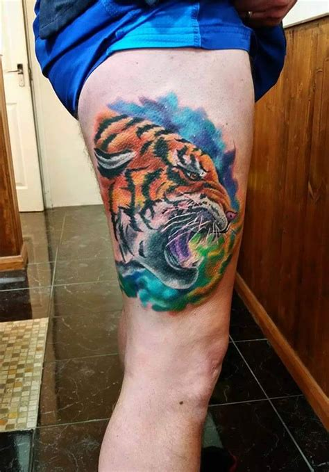 colorful thigh tattoos 53 tiger tattoos and designs for thigh