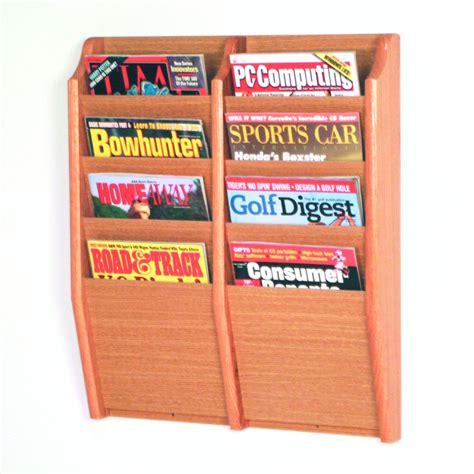 wooden wall magazine rack wooden mallet mr24 8 wall mount magazine rack atg stores