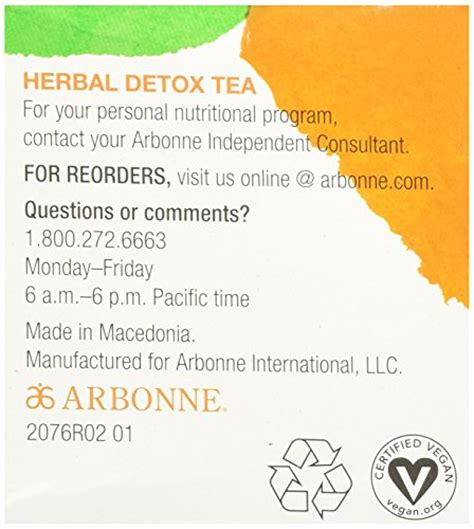 Arbonne Detox Tea by Arbonne Herbal Detox Tea 20 Count Health Personal