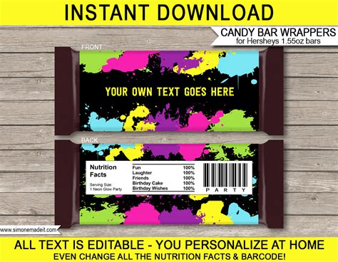 editable bar wrapper template neon glow hershey bar wrappers personalized bars