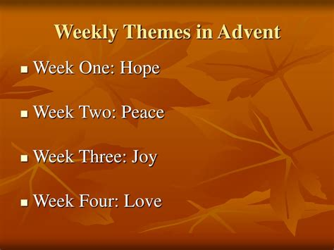 advent themes hope love joy peace ppt preparing for advent powerpoint presentation id 119729