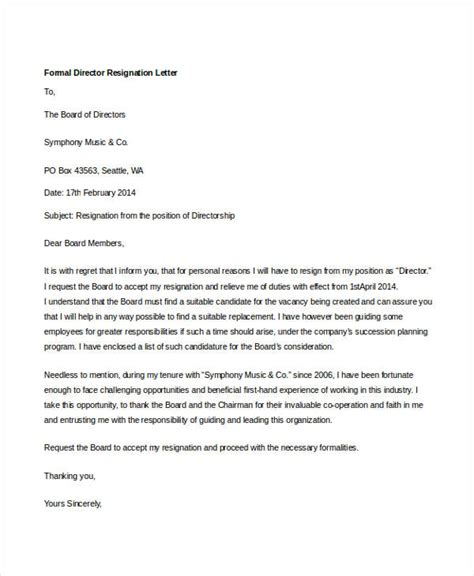 Director Resignation Letter Sle by 14 Formal Resignation Letters Free Sle Exle Format Free Premium Templates