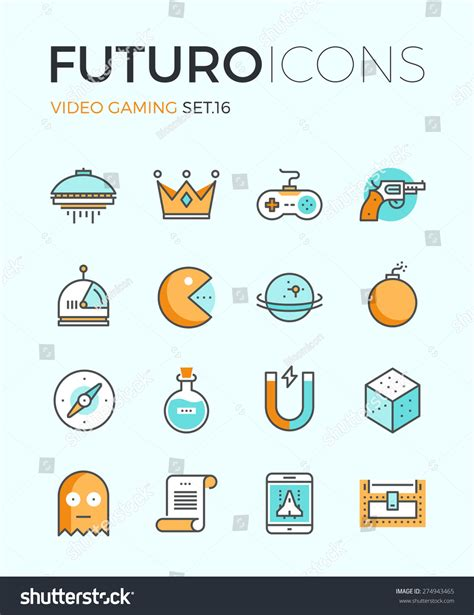 design elements for games line icons with flat design elements of video game objects