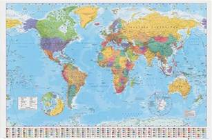 World Wall Maps by World Map Poster 100x140cm Giant Wall Chart With Flags Of