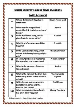 quiz questions english literature with answers book week classic children s books trivia questions