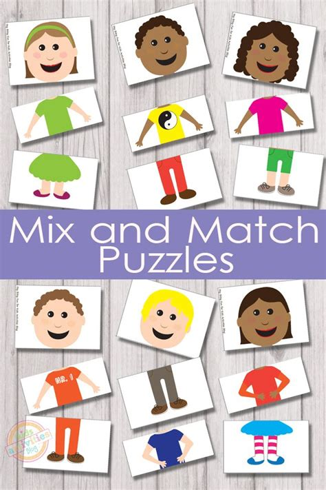 printable toddler puzzles mix and match puzzles free kids printable characters