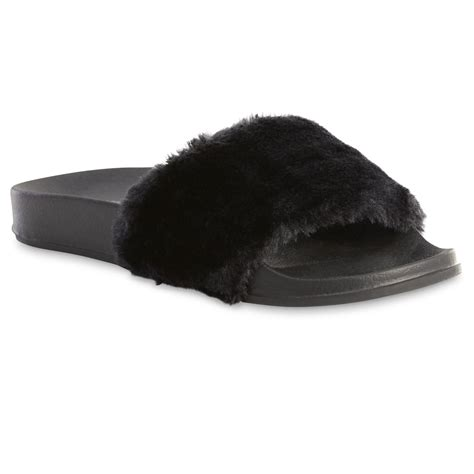 black fur slippers joe boxer s retta black faux fur slipper shop your