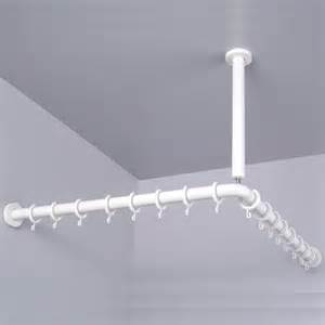 pba corner shower curtain rod with ceiling support