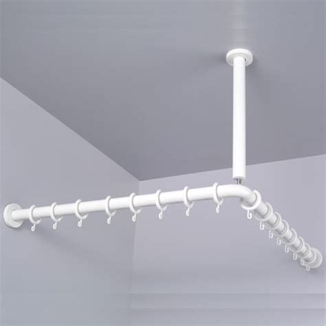 shower curtain rod support pba nylon corner shower curtain rod with ceiling support