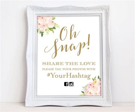 Wedding Hashtag Sign by Oh Snap Wedding Sign Gold Floral Instagram Sign Wedding