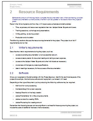 Simple Technical Project Template Documentation Plan Ms Word Template For Software Project