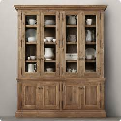 White China Cabinet With Glass Doors Rustic Wood Sideboard And Hutch