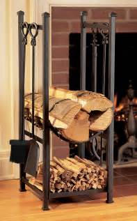 Fireplace Log Rack Indoor by Black Metal Indoor Firewood Rack With Hooks For Living