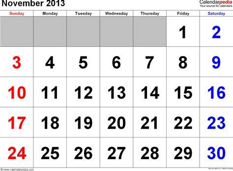 Calendar November 2013 November 2013 Calendars For Word Excel Pdf