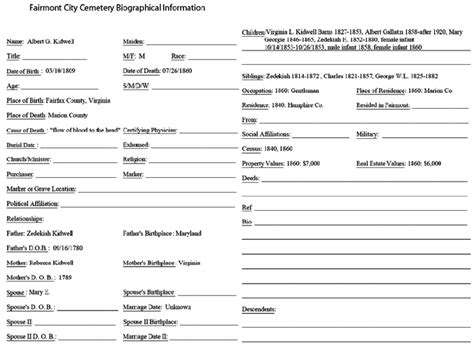 biography form 6 a completed biography form for albert kidwell
