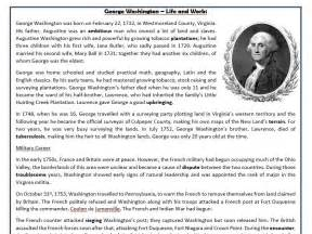 biography of george washington for first graders george washington life and work reading comprehension