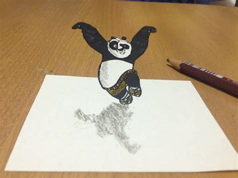 Kaos 3d Kungfu Panda White kung fu panda 3d drawing tricks anamorphic illusion