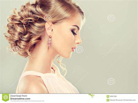 beautiful model with elegant hairstyle stock photo beautiful model with elegant hairstyle stock photo
