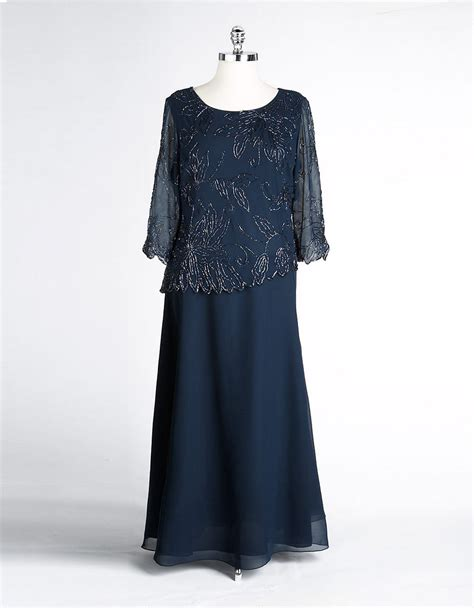 j kara beaded bodice gown j kara plus beaded bodice dress in blue navy lyst