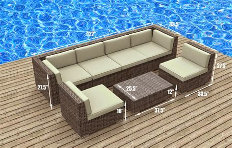 Patio Sectional Sofa Furnishing Modern Outdoor Backyard Wicker Rattan
