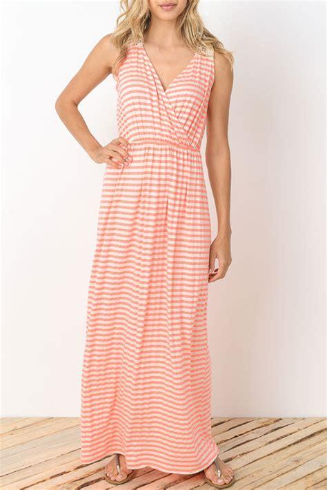 Dress Terusan Sabrina Stripe Ribbon Bc sabrina stripes drop waist nursing friendly maxi dress in coral stripes by elly kiara