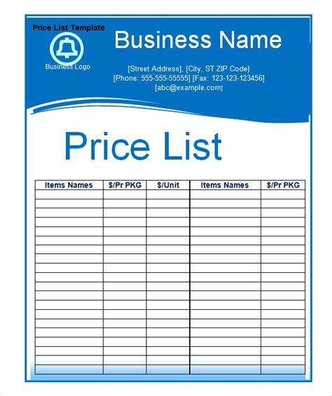 printable price list template price list template peerpex