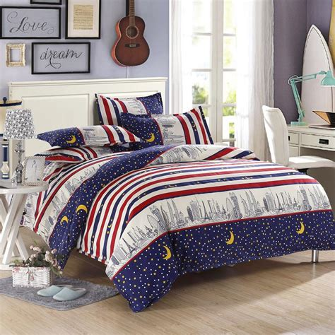blue and red comforter sets high quality city light bedding blue and red striped