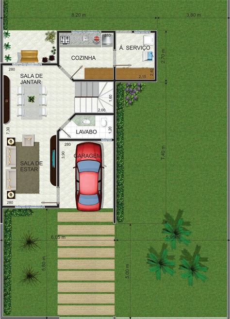 plantas de casas  ambientes integrados