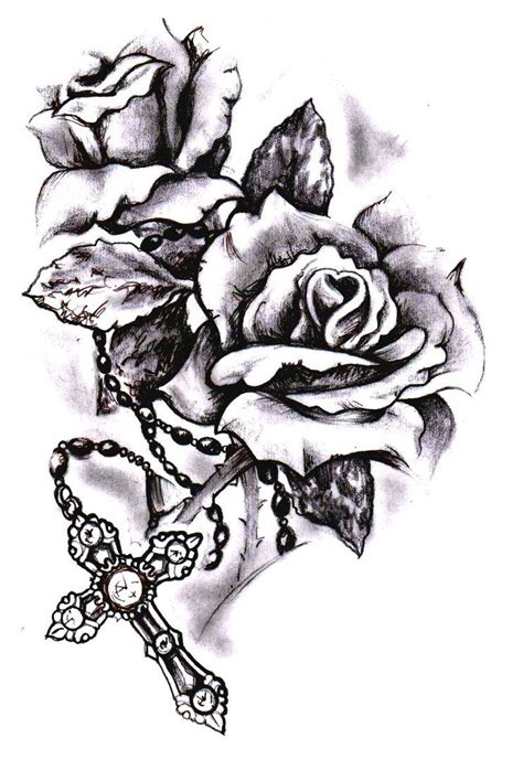 rose art tattoo cross sketch by simonvalentine on deviantart