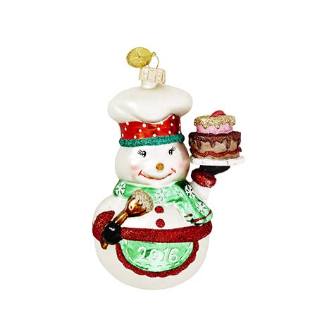 3 quot dated chef snowman christmas ornament