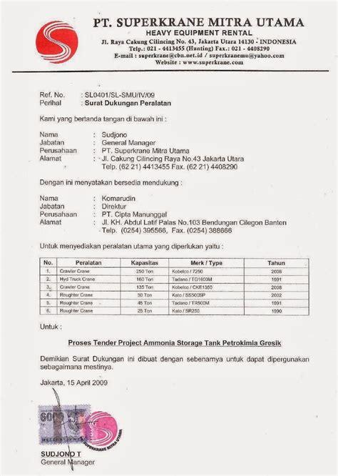Contoh Surat Perintah Pt Duta Mandiri by Contoh Surat Dukungan Distributor Pengadaan Eprocurement