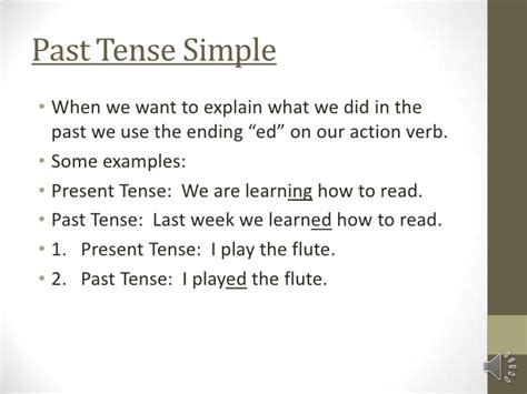 sentence pattern simple past tense mini lesson on past tense simple