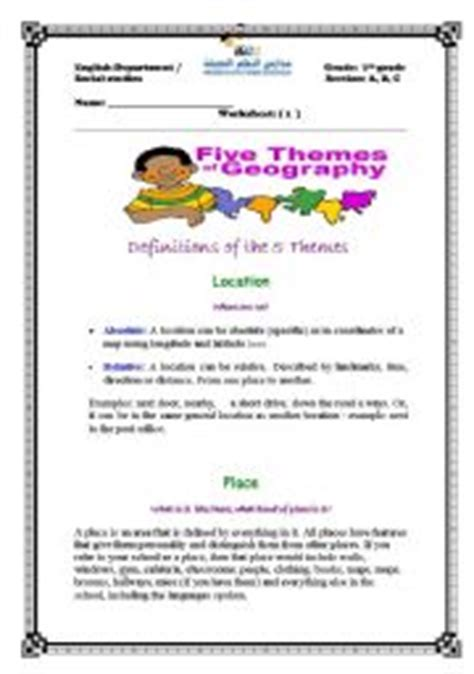 five themes of geography handout english worksheets the five themes of geography