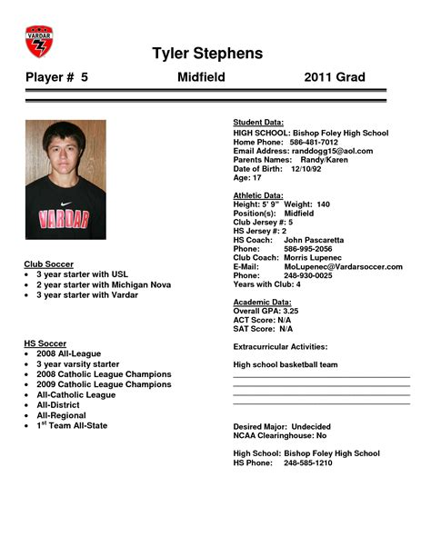 Baseball Player Bio Template College Soccer Player Profile Template