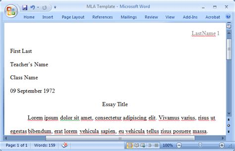 mla template for apple pages mla format