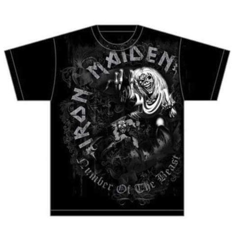 5 11 Beast Millitary Grey iron maiden t shirt number of the beast grey tone for