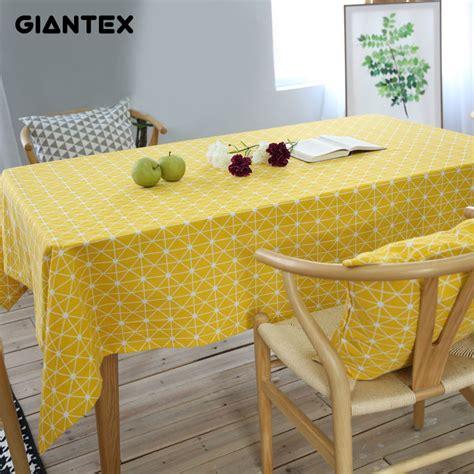giantex yellow chessboard decorative table cloth cotton